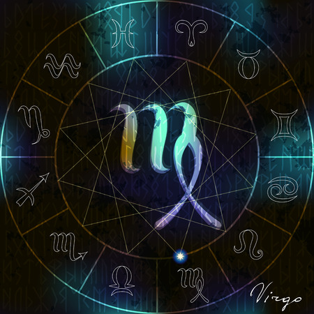 soothsayer: Magic circle with Virgo astrological symbol in center Illustration