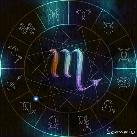 soothsayer: Magic circle with Scorpio astrological symbol in center