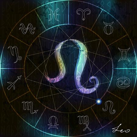 adivino: C�rculo m�gico con el s�mbolo astrol�gico Leo en el centro