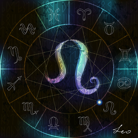 astrologer: Magic circle with astrological Leo symbol in center Illustration