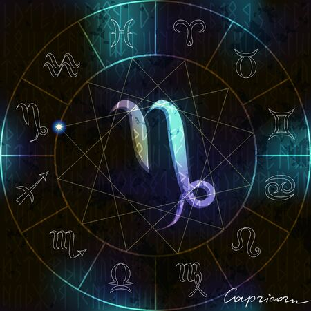 soothsayer: Magic circle in Capricorn astrological  symbol in center. Illustration