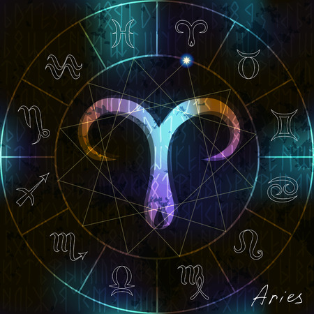 Magic circle with astrological Aries symbol in center