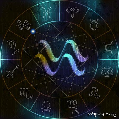 adivino: C�rculo m�gico con el s�mbolo de Acuario astrol�gico en el centro.
