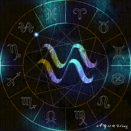 soothsayer: Magic circle with astrological Aquarius symbol in center. Illustration