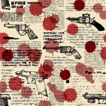 Seamless background pattern. Imitation of retro newspaper with the images of pistols and blood drops. Illustration