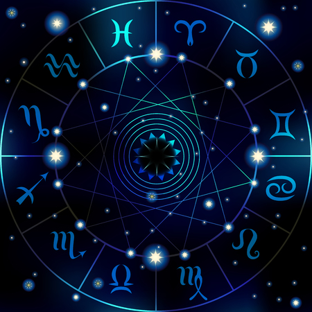 soothsayer: Circle with signs of horoscope on dark blue blur background.
