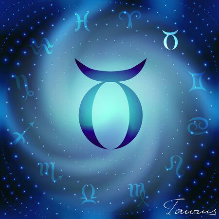 adivino: Espacio espiral con astrol�gica s�mbolo de Tauro en el centro.