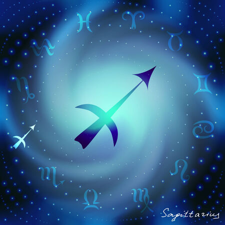 mysticism: Space spiral with astrological Aquarius symbol in center.