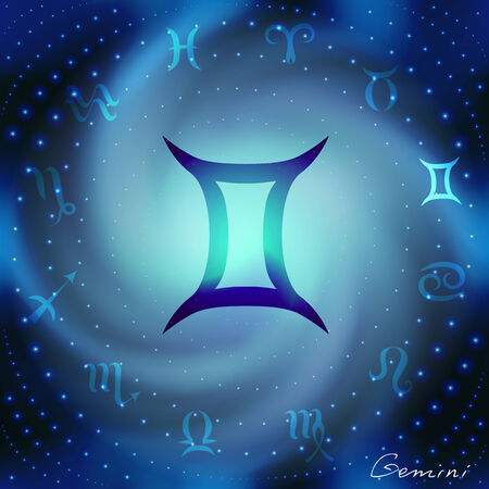 soothsayer: Space spiral with astrological Gemini symbol in center.