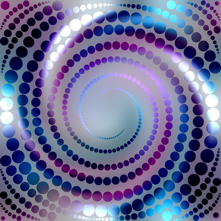 Shining spiral of circles on blur background. May be used as seamless pattern. Vector