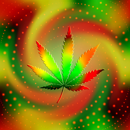 hemp: The leaf of hemp on blur spiral background. May be used as seamless pattern.