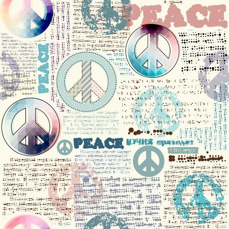 Seamless background pattern. Imitation of grunge newspaper with pacific symbols. 일러스트