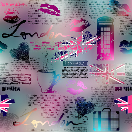 Seamless background pattern. The collage in London style. Vector