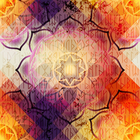 repetition: Mandala symbol seamless pattern on pixel background in ethnic style and grunge effects. Illustration