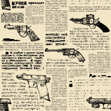 mobster: Seamless background pattern. Imitation of retro newspaper with the images of pistols