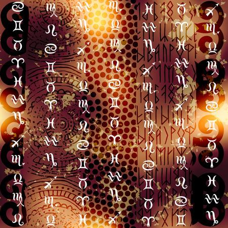 soothsayer: Symbols of zodiac on grunge ethnic background. Seamless pattern. Illustration