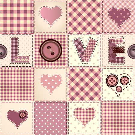 Seamless background pattern. Pink patchwork with the word Love. Vector