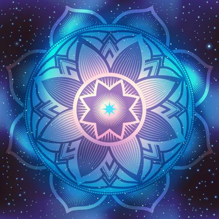 Mandala symbol on blue space background with stars. Illustration