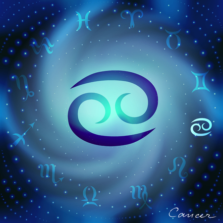 soothsayer: Space spiral with astrological Cancer symbol in center.