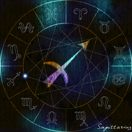 astrologer: Magic circle with Sagittarius astrological symbol in center.