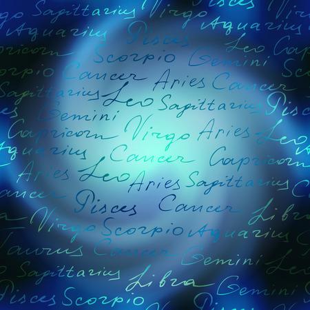 adivino: Inscripciones originales de los nombres zodiacs en espiral de fondo Espacio Vectores