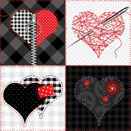 Seamless pattern background. Patchwork quilt with hearts.