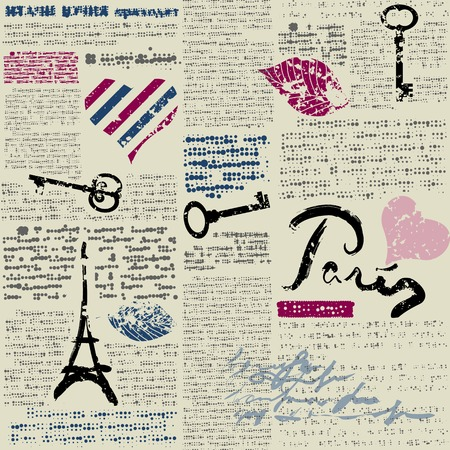 Seamless background pattern. Newspaper Paris with hearts Illustration