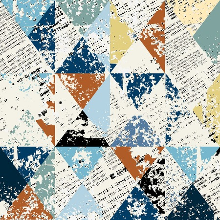 Seamless background pattern.Dirty newspaper with grunges triangles.