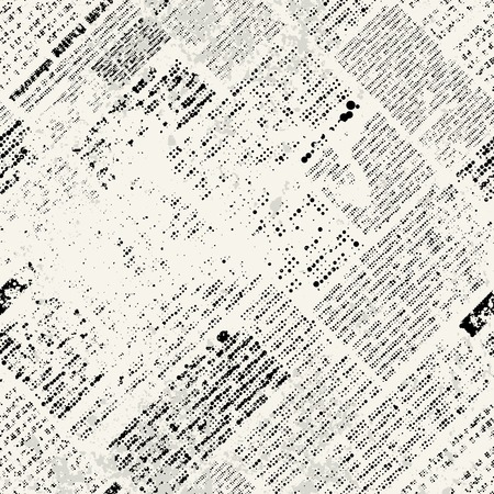 Seamless background pattern. Imitation of grunge newspaper Çizim
