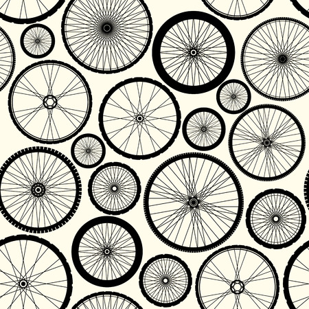 bicicleta: Modelo inconsútil del fondo. Patrón de ruedas de bicicleta. Vectores