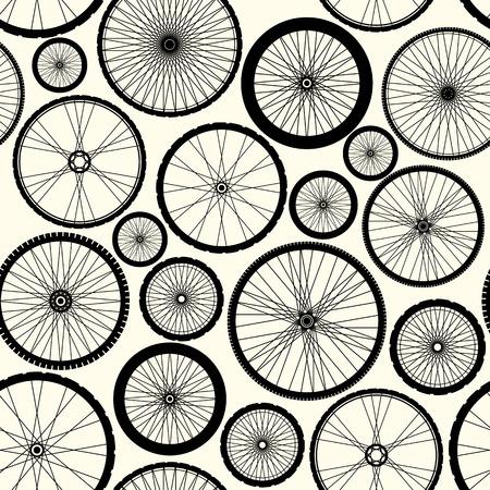bicyclette: Seamless fond. Motif de roues de v�lo. Illustration
