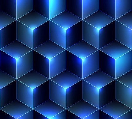 Seamless background pattern. Navy blue cubes background.
