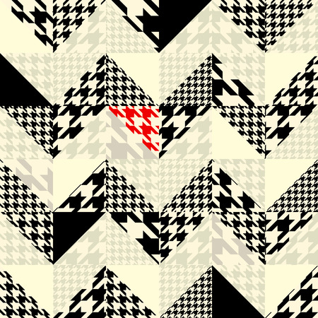Seamless background pattern. Chevron of triangles patchwork with classic houndstooth patterns.