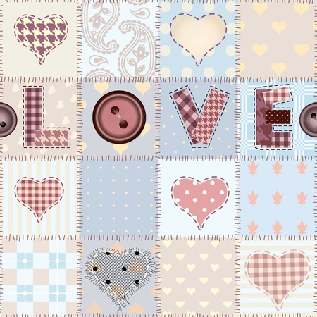 Seamless background pattern. The word Love in patchwork style.