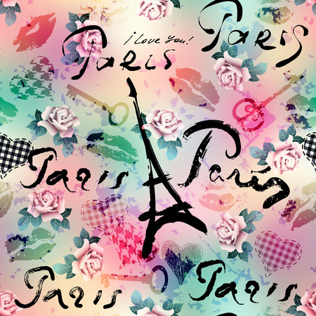 Seamless background pattern. Collage in retro scrapbooking style with original inscriptions word of Paris.