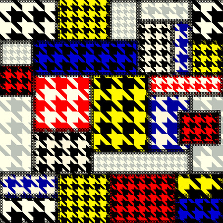 mondrian: Seamless background pattern. Patchwork with houndstooth pattern in retro style.