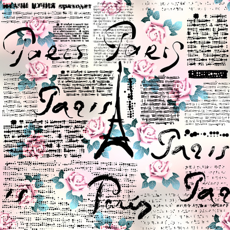 Seamless background pattern. Newspaper Paris with roses. Text is unreadable.