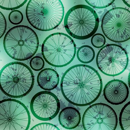 Seamless background pattern. Wheels pattern on grunge green background.