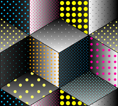 Seamless background pattern. Colors dots on black geometric cubes.