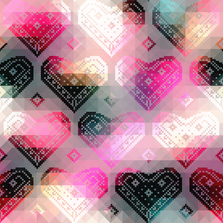 continuity: Seamless background pattern. Hearts pattern on geometric background.