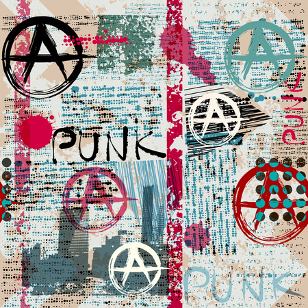 Seamless background pattern. Grunge newspaper with word Punk and anarchy symbols.