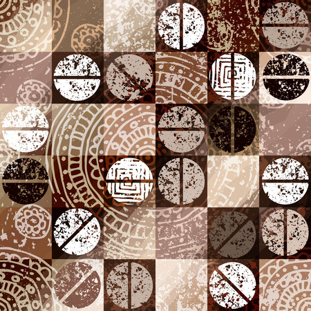 Naadloos patroon als achtergrond. Koffie achtergrond met grunge elementen. Stock Illustratie