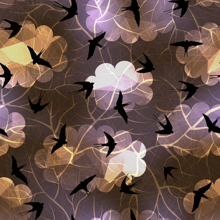 swallows: Seamless background pattern. Swallows on night sky background.