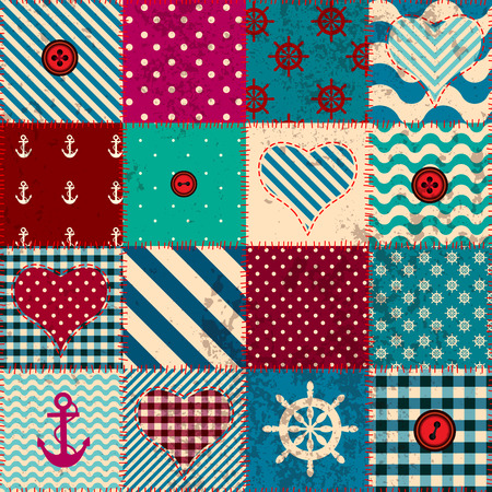 Seamless background pattern. Patchwork in nautical style with retro grunge elffect. Vector