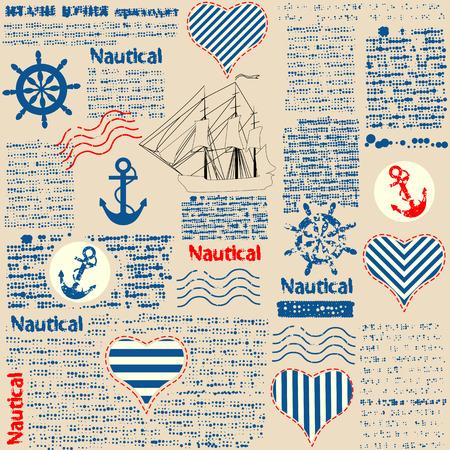 Imitatie van de krant in nautische stijl met grunge elementen. Tekst onleesbaar is. Seamlesachtergrond patroon.