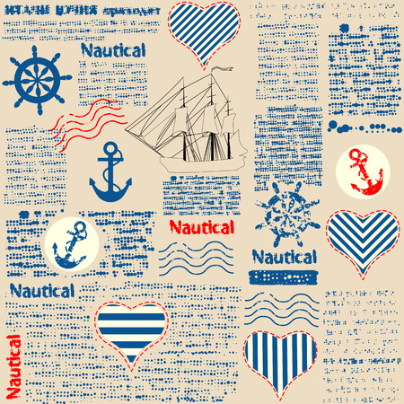 Imitation of newspaper in nautical style with grunge elements. Text is unreadable. Seamles background pattern.
