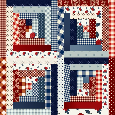 country style: Square patchwork in country style. Seamless background pattern.