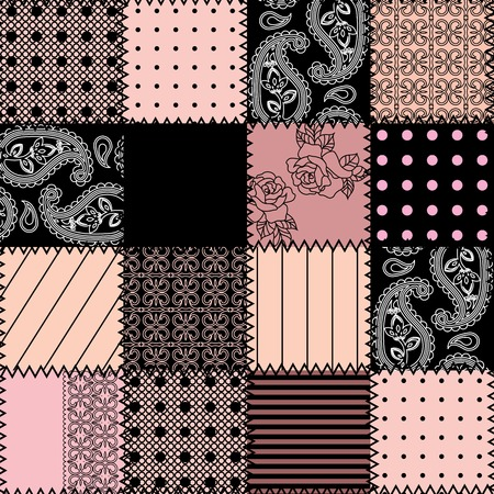 Seamless background pattern. Pink patchwork with lace. Illustration