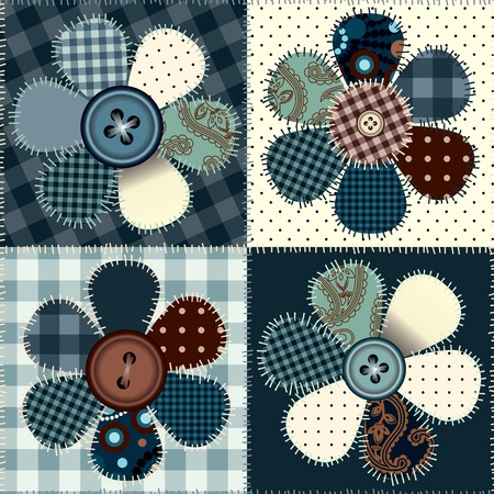 Seamless background pattern. Patchwork with flowers and buttons. 矢量图像