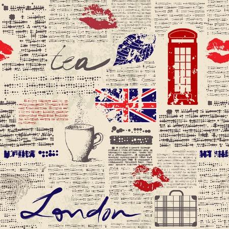 Naadloos patroon als achtergrond. Krant Londen met grunge eleme Stock Illustratie